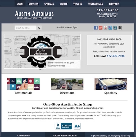 Austin Autohaus site and graphics